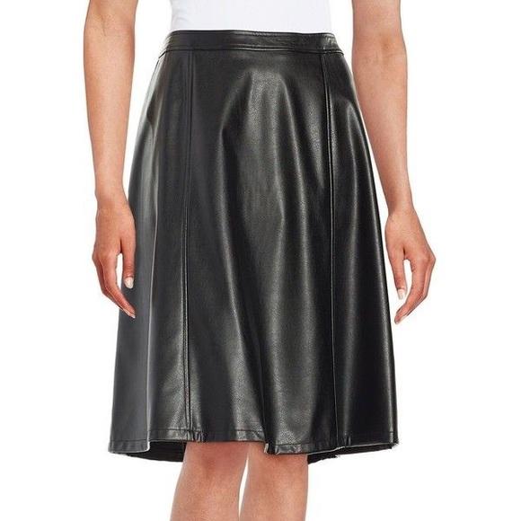 Calvin Klein Dresses & Skirts - Calvin Klein | faux leather | black | a line | 4